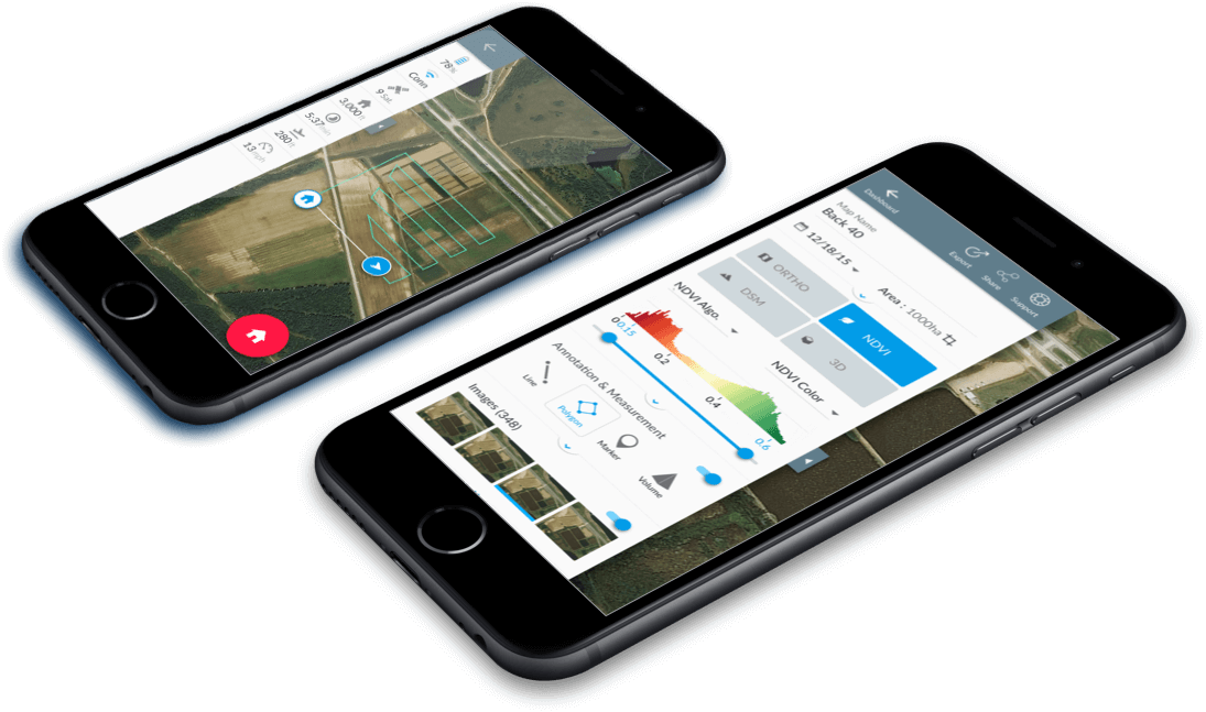 iPhone with drone software for flying and data analysis